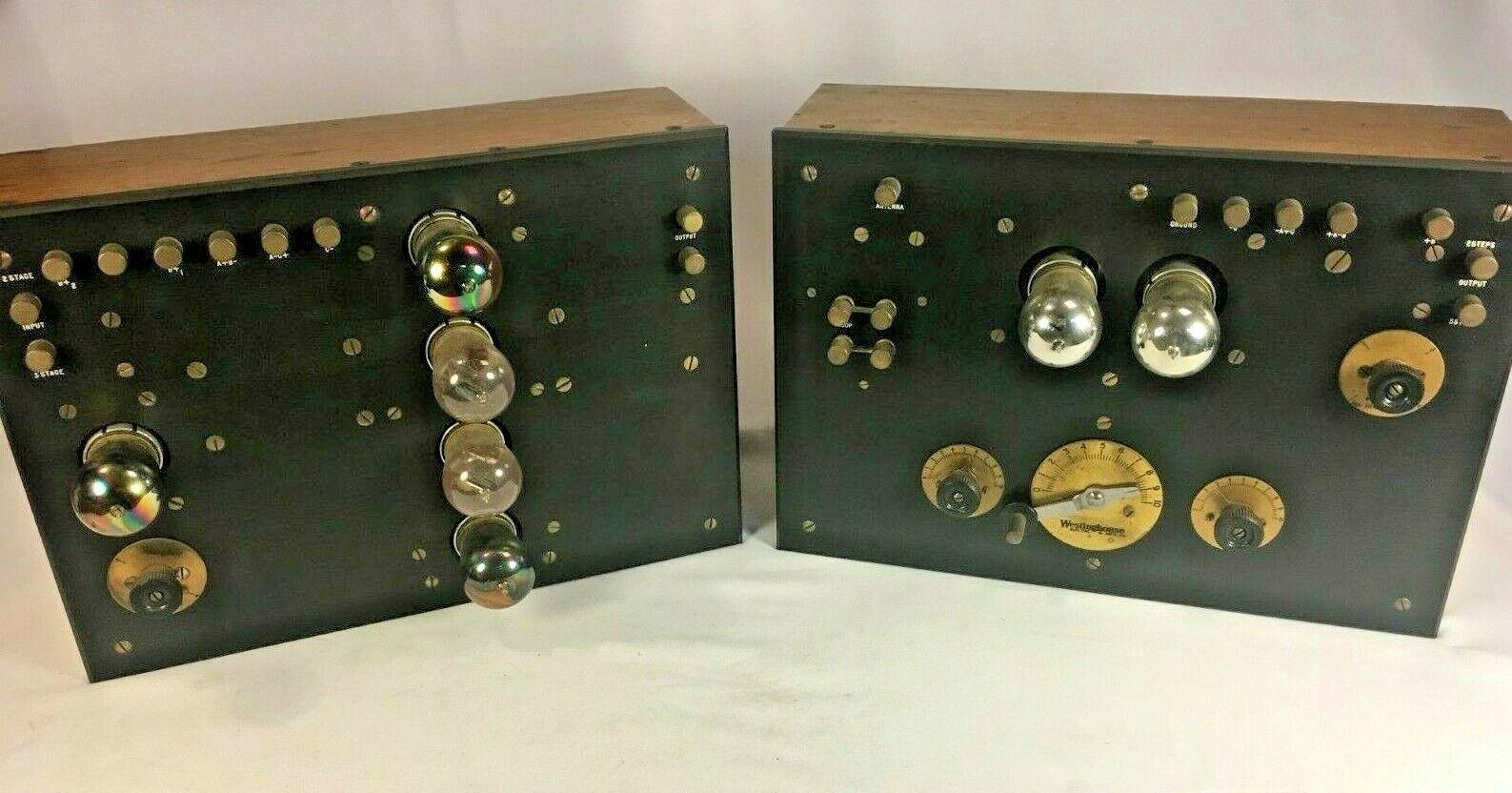 Westinghouse RCA SUPER RARE 2-tube Rebroadcast Receiver 5-tube Amp 20s Radio