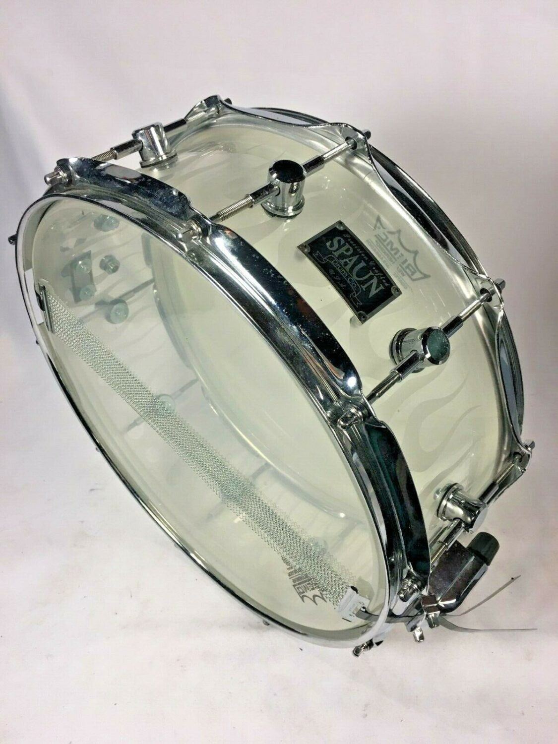 """Spaun Acrylic Flame Snare 5 1/2 """"x 14"""" LOUD AMAZING DRUM Clear"""