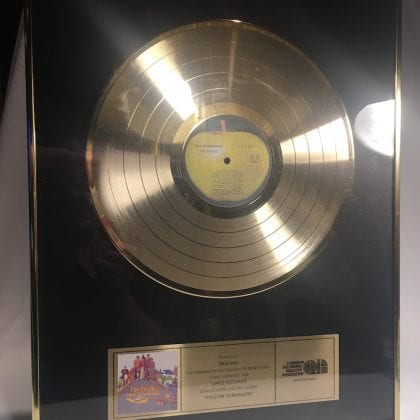 "The Beatles ""Yellow Submarine"" Gold Record Official CRIA Sales Award SUPER RARE!!!!!!!! John Paul George Ringo"