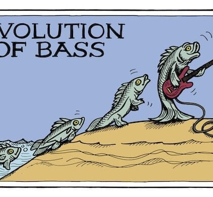 """The Evolution Of Bass"" Original Poster By Sylvia Massy Illustrator Autographed Bass Player Cartoon 11×17″"