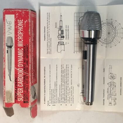 Realistic 33-992A Microphone Vintage Dynamic Cardioid Switched End Address Brushed Nickel Steel Finish NOS