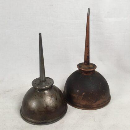 Eagle Oil Cans (2) Vintage Industrial Made In America Garage Memorabilia Auto Decor Steampunk Pump Deluxe Patina Greasy