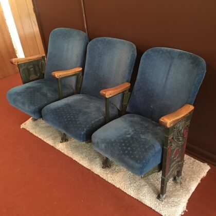 Antique Cinema Folding Seats from Weed Palace Theater California Vintage Movie House Cast Iron Wood + Upholstery