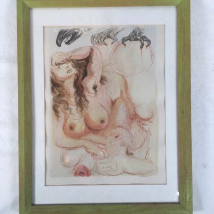 Salvador Dali Woodcut Printing Original from Divine Comedy Dante's Inferno Book 1960
