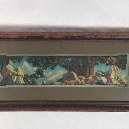 "Maxfield Parrish ""Rubaiyat"" Art Print Original 1917 Matted with Vintage Wood Frame"